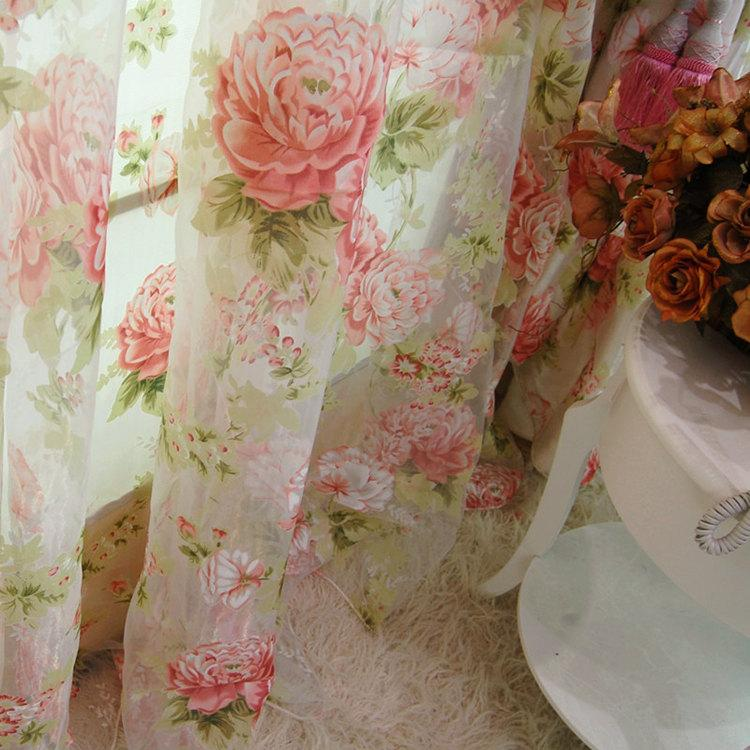 Details about 2 x Custom Made French Country Cottage Rose Floral Sheer ...