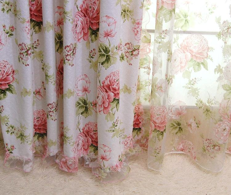 2 X Custom Made French Country Cottage Rose Floral Sheer