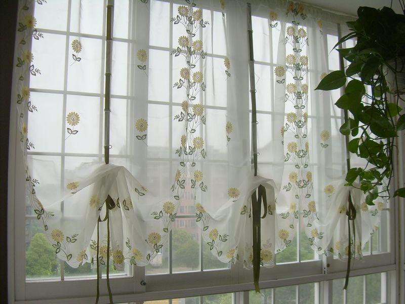 French country embroidered balloon shade sheer voile cafe kitchen curtain 003 ebay - French country kitchen curtains ...