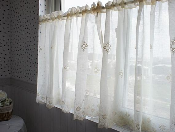 French Country Cream Embroidered Lace Cotton Linen Cafe Kitchen Curtain 004 Ebay