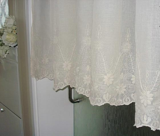 Details about French Country Cream Embroidered Lace Cotton Linen Cafe ...