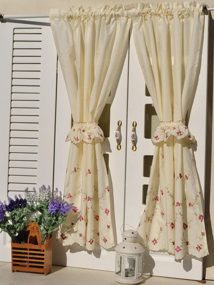 French country floral embroidered cafe kitchen curtain 006 ebay - French country kitchen valances ...