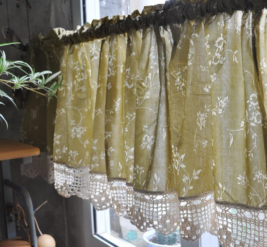 French Country Floral Rose Cafe Kitchen Curtain Valance