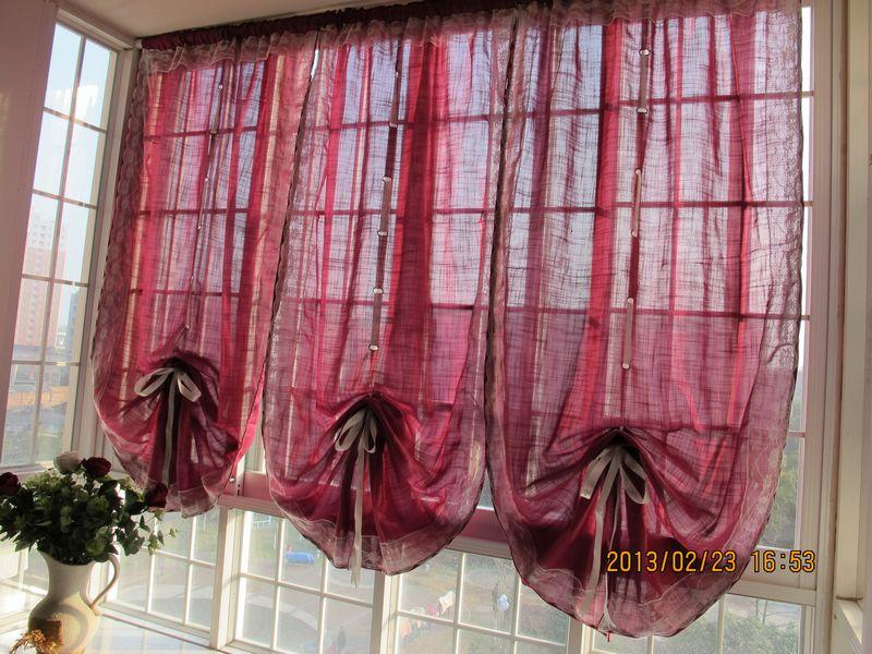 French Country Rosa Red Lace Balloon Austrian Pull Up Cafe Kitchen Curtain E006 Ebay