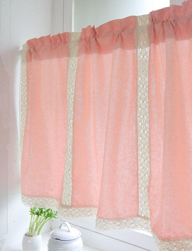country pink cotton linen cafe kitchen curtain