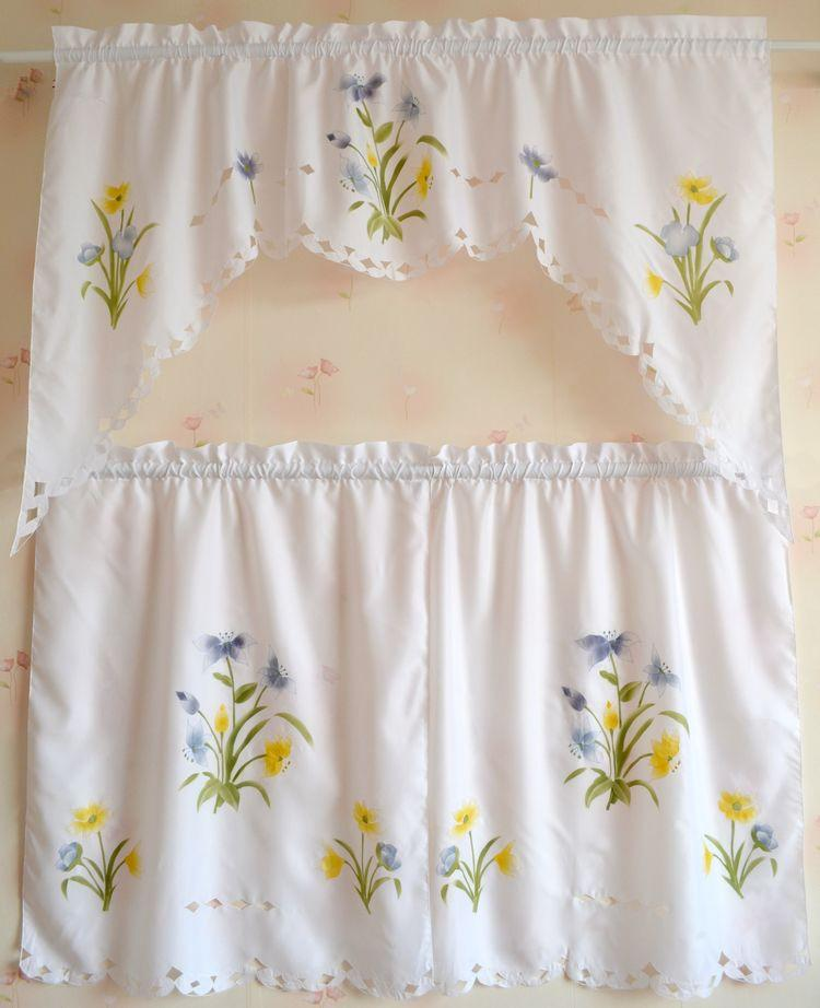 Set of French Country Floral Cafe Kitchen Curtain with Valance Swag