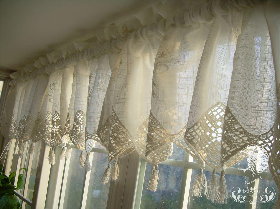 Set of french country lace crochet cafe kitchen curtain with valance 013 ebay - French country kitchen valances ...