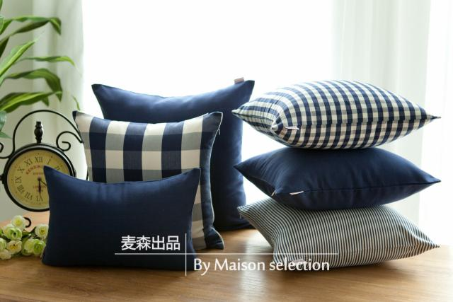 French Country Pastoral Check Stripe Navy Blue Sofa Throw Pillow
