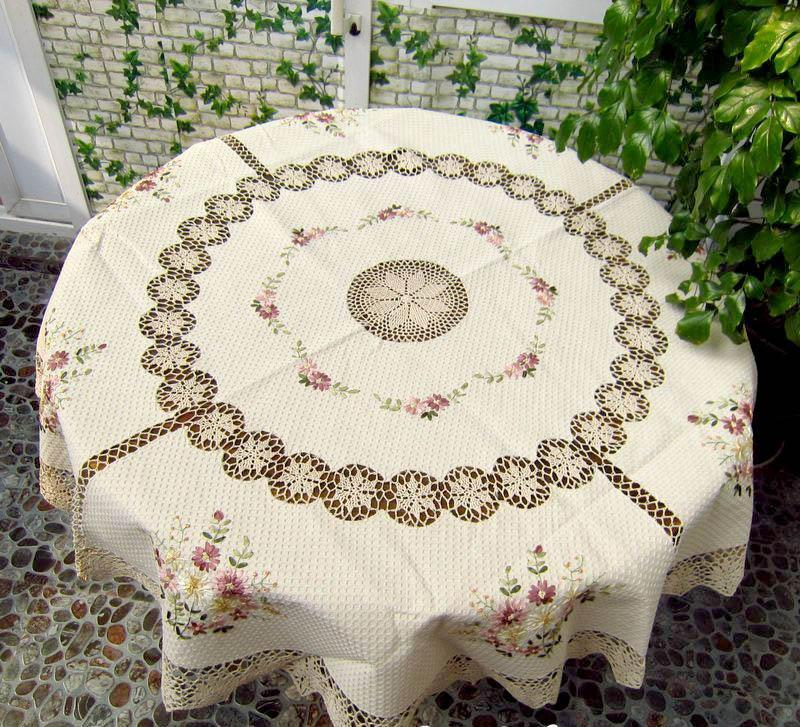 French country hand crochet lace silk ribbon embroidery