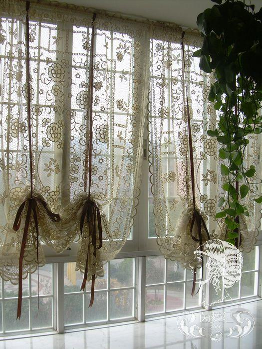 french country hand crochet lace balloon shade sheer cafe kitchen curtain  ebay