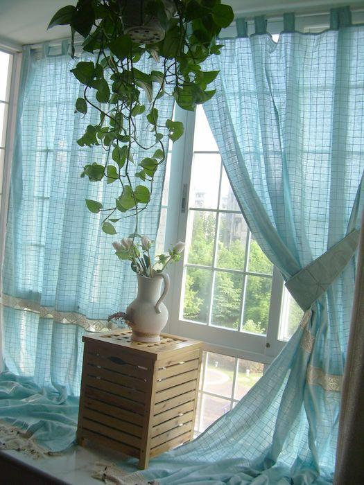 Tab Top French Country Crochet Lace Check Blue Window Curtain Panel 007 Ebay