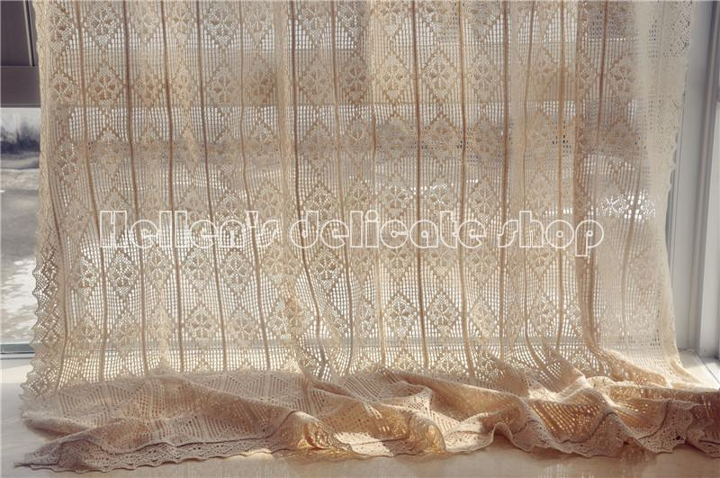 french country cotton thread crochet lace curtain panel