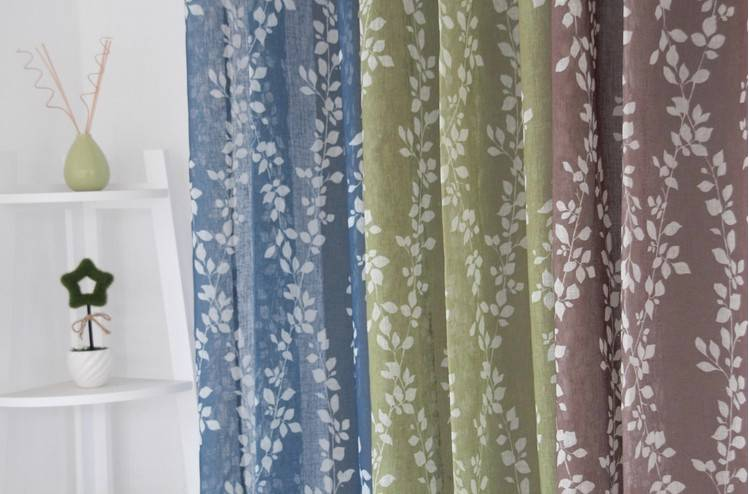 French Country Provincial Leaf Blue Coffee Green Sheer
