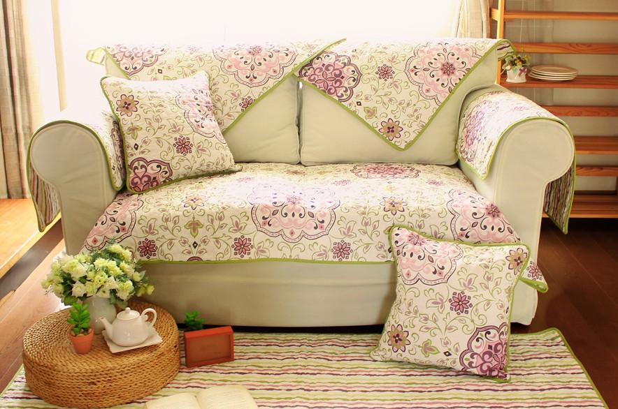 Country Floral Cotton Quilted Couch Sofa Furniture