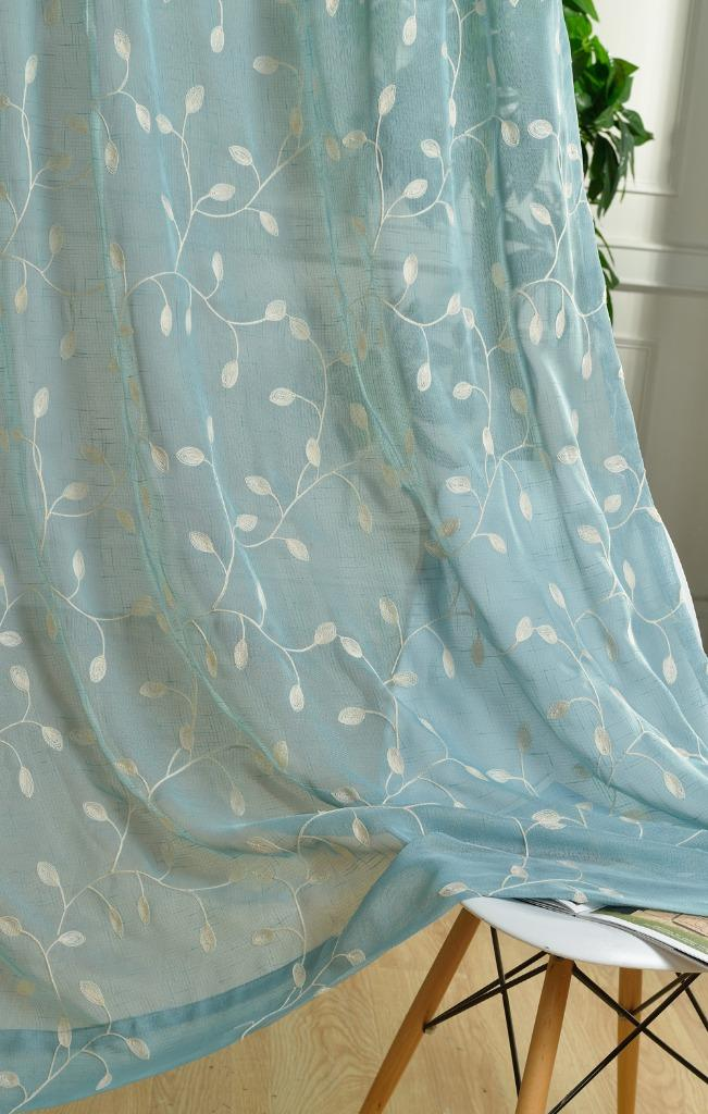 Custom Country Floral Embroidered Blue Green White Sheer