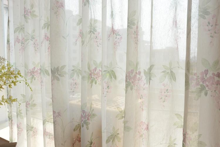 Custom Made French Country Cottage Rose Floral Sheer Voile