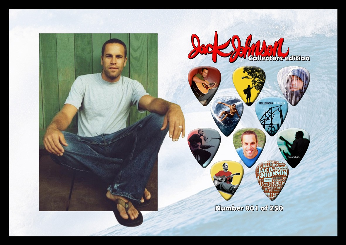 JACK-JOHNSON-A4-SIZE-LIMITED-EDITION-GUITAR-PICK-DISPLAY