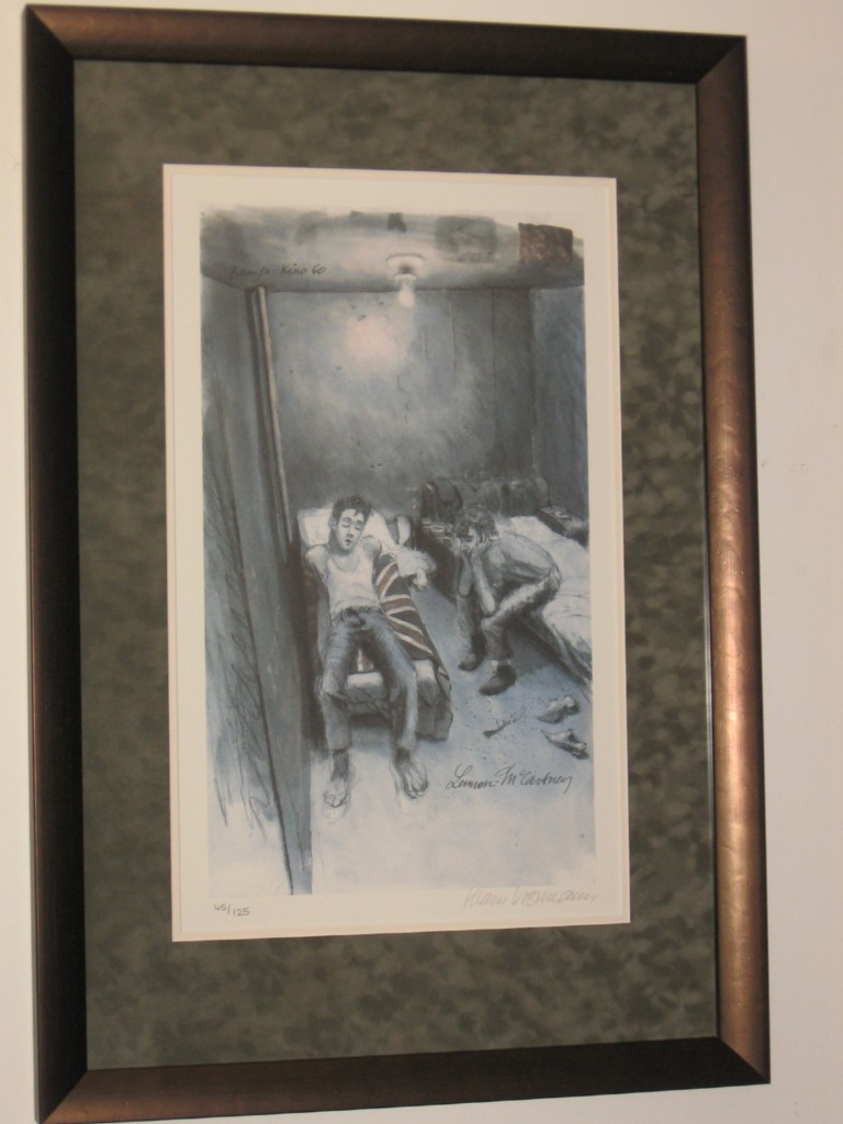 THE-BEATLES-KLAUS-VOORMANN-SIGNED-FRAMED-HAMBURG-DAYS-LITHOGRAPH-RARE