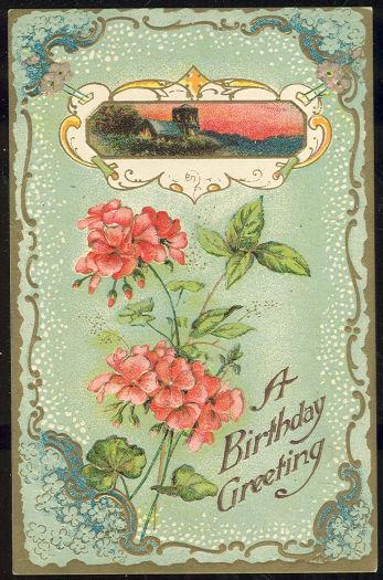BIRTHDAY GREETING POSTCARD WITH PINK FLOWERS AND GOLD, Postcard