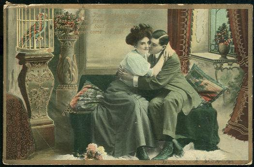 COURTING COUPLE IN A VICTORIAN PARLOR, Postcard