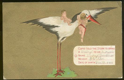 CUPID TOLD THE STORK TO BRING A BABY, Postcard