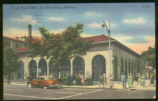 US POST OFFICE, ST. PETERSBURG, FLORIDA, Postcard