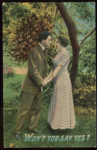 POSTCARD - Victorian Courting Couple Won't You Say Yes