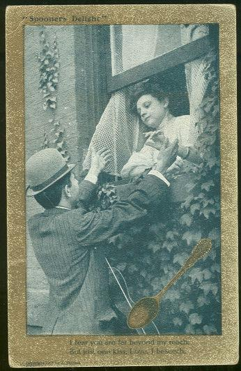 POSTCARD - Spooner's Delight Postcard Courting Couple for One Kiss