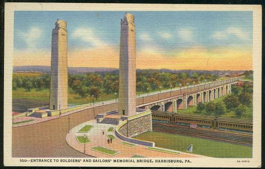 ENTRANCE TO SOLDIERS' AND SAILORS' MEMORIAL BRIDGE, HARRISBURG, PENNSYLVANIA, Postcard