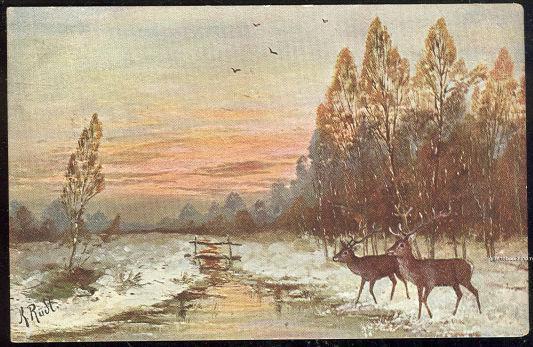 K. RUDT SIGNED POSTCARD OF DEER IN SNOWY LANDSCAPE, Postcard