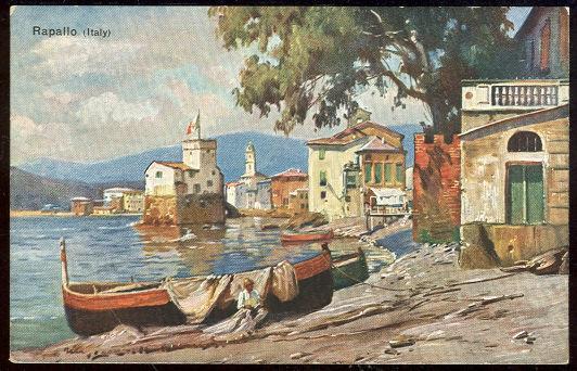 GERMAN ART POSTCARD OF BOATS ALONG COAST RAPALLO, ITALY, Postcard
