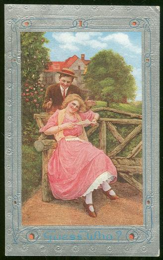VICTORIAN COURTING COUPLE, GUESS WHO?, Postcard