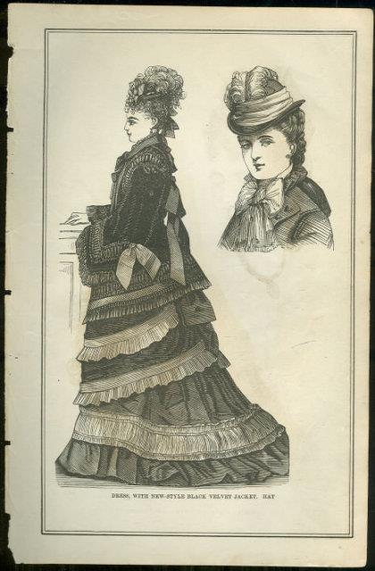 DRESS WITH NEW STYLE BLACK VELVET JACKET AND HAT PAGE FROM 1876 PETERSON'S MAGAZINE