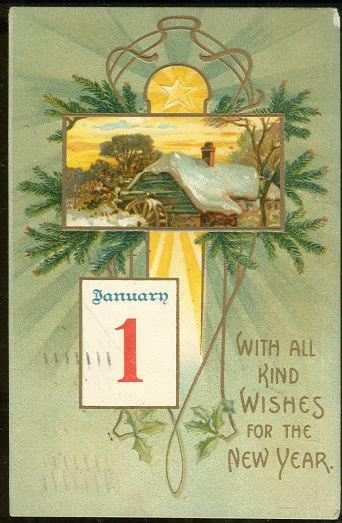 NEW YEAR POSTCARD WITH KIND WISHES AND SNOWY MILL, Postcard