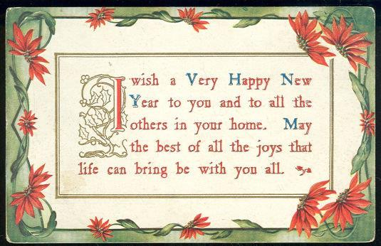 HAPPY NEW YEAR WISHES POSTCARD WITH POINSETTIAS, Postcard