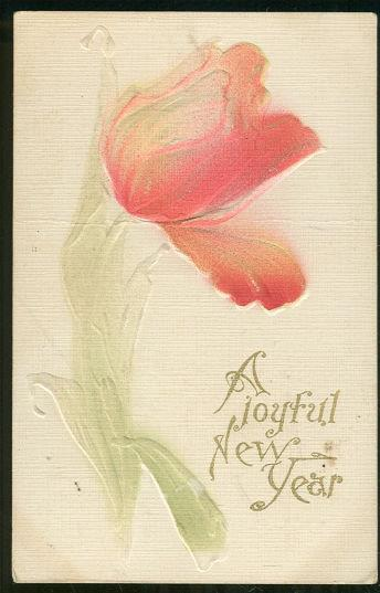 JOYFUL NEW YEAR POSTCARD WITH EMBOSSED RED TULIP, Postcard