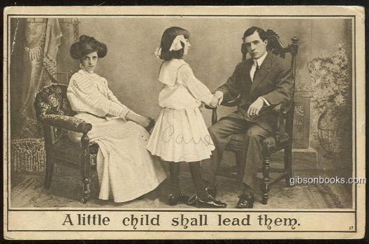 LITTLE GIRL WITH HER PARENTS, A LITTLE CHILD SHALL LEAD THEM, Postcard