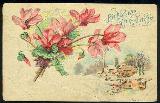 BIRTHDAY GREETINGS POSTCARD WITH FLOWERS AND SNOW, Postcard