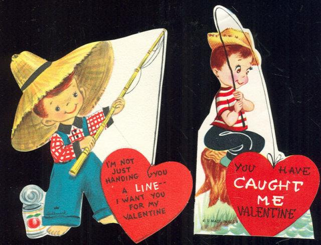 TWO VINTAGE VALENTINES OF YOUNG BOYS FISHING, Valentine