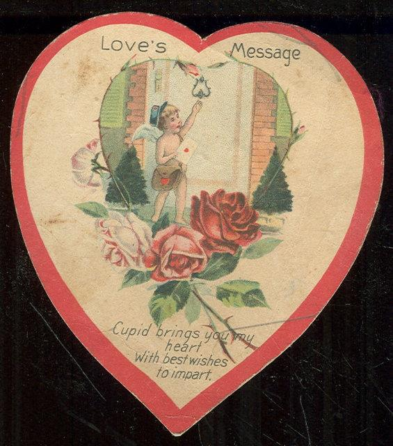 VINTAGE HEART SHAPED VALENTINE WITH CUPID BRINGING LOVE'S MESSAGE, Valentine