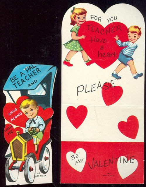 SET OF TWO VINTAGE BOY AND GIRL TEACHER VALENTINE CARDS, Valentine