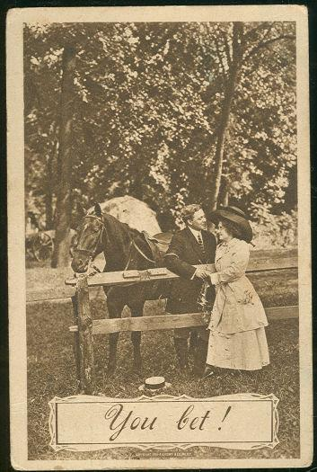 VICTORIAN COURTING COUPLE ON HORSEBACK, Postcard