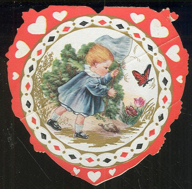WHITNEY MADE VINTAGE HEART SHAPED VALENTINE CARD WITH BABY CHASING A BUTTERFLY, Valentine