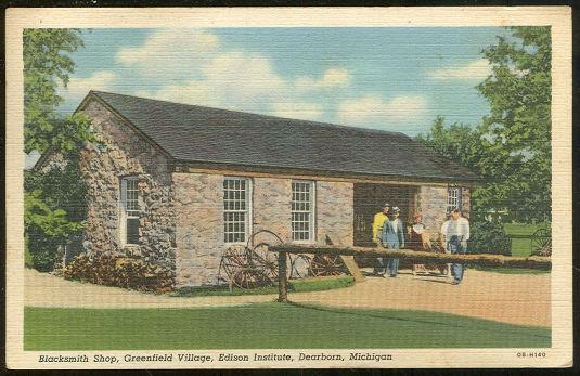 BLACKSMITH SHOP, GREENFIELD VILLAGE, EDISON INSTITUTE, DEARBORN, MICHIGAN, Postcard