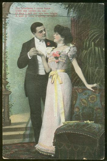 VICTORIAN COURTING COUPLE POSTCARD, HER LOVELINESS, Postcard