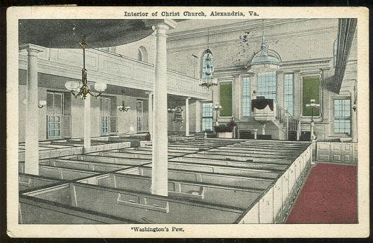WASHINGTON'S PEW, CHRIST CHURCH, ALEXANDRIA, VIRGINIA, Postcard