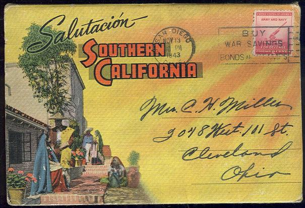 SOUVENIR POSTCARD FOLDER FROM SOUTHERN CALIFORNIA, Postcard