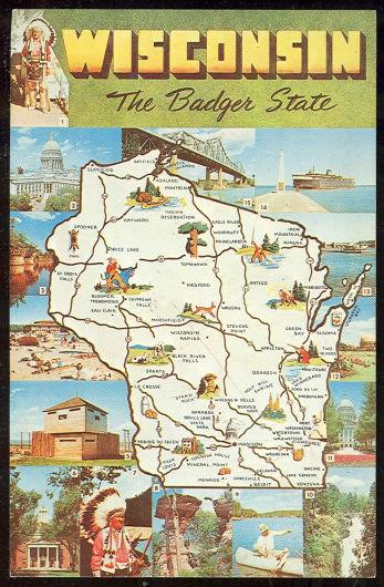 MAP POSTCARD OF WISCONSIN, THE BADGER STATE, Postcard