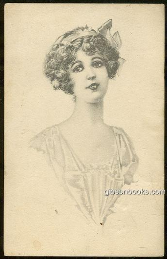 LOVELY VICTORIAN LADY WITH RIBBON, Postcard