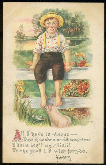 COUNTRY BOY SITTING ON FENCE WITH PIG, Postcard